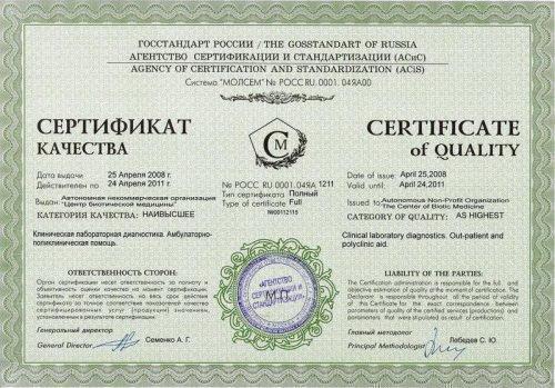 Сертификаты на товар